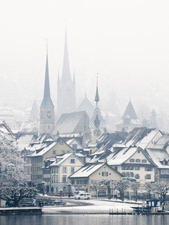 The Town of Zug on a Misty Winter Day, Zug, Switzerland, Europe Fotografická reprodukce