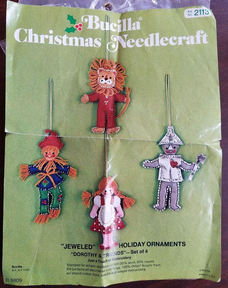 Vintage Christmas Bucilla Felt Applique Ornaments Wizard of Oz PARTIAL Kit 2113 #Bucilla