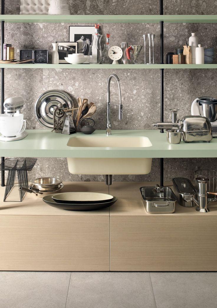 Beautiful Arbeitsplatte Corian Küche Dupont Modern Offene Küchenregale  Küchenutensilien Hellgrün #wohnideenkuche #kitchen #DuPont # Design Ideas