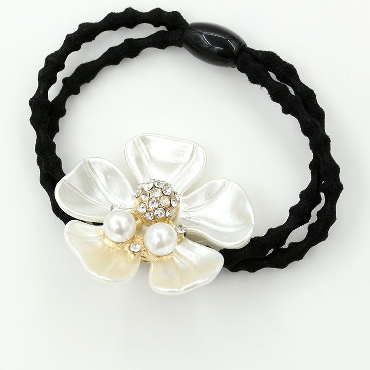 Shiny Crystal & Simulated Pearl Pistil Flower Double Nodes Elastic Hair Bands Rubber Bands for Girls Women Headwear