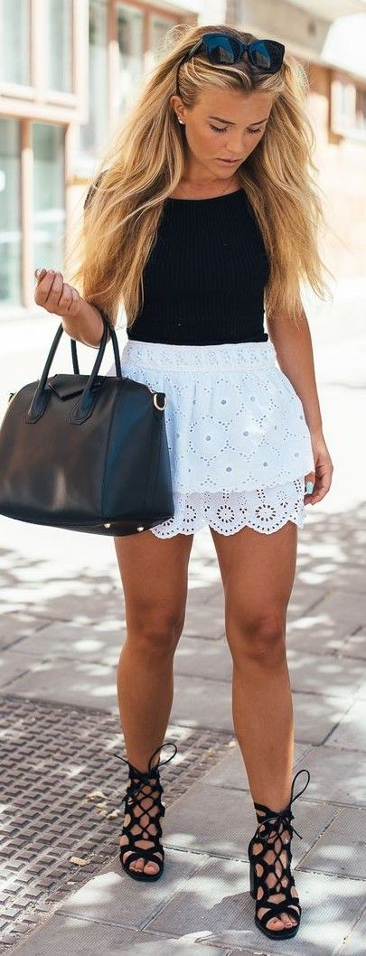 Black Top + White Lace Skirt                                                                             Source