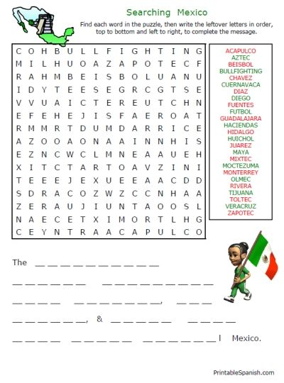 Searching Mexico puzzle -- and 9 other worksheets on Spanish speaking countries -- FREE to download & print!