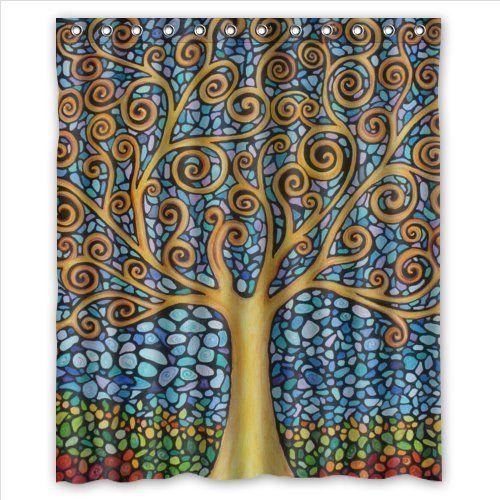 amazing tree of life mosaic art Polyester Fabric Custom home decor Shower  Curtain 60