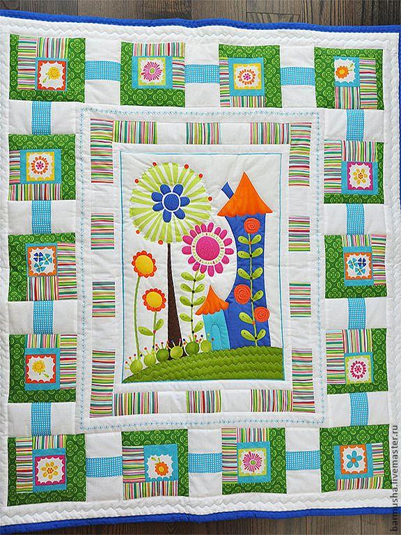 """Купить Детское лоскутное одеяло """"Веселая полянка"""" - американский хлопок, хлопок, хлопок 100%"""