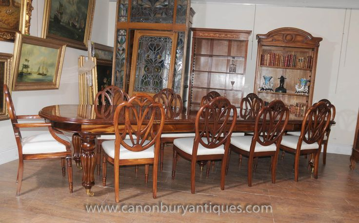 http://canonburyantiques.com/s/dining-tables/victorian-dining-tables/1/  Victorian dining table and set of matching Hepplewhite dining chairs. Regal dining set. Large range of Victorian dining sets available..