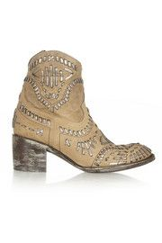 MexicanaApache embroidered distressed leather ankle boots