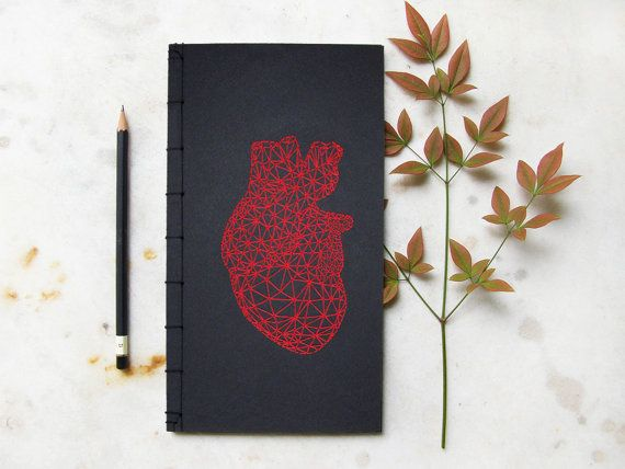 Anatomical Heart Notebook. Red Heart Anatomy. by FabulousCatPapers