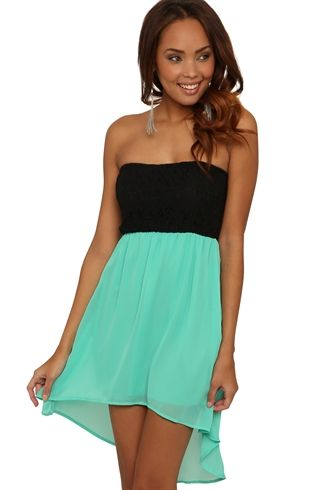 Deb Shops #Mint Strapless Lace Chiffon High Low Dress with Contrast Skirt $32.90