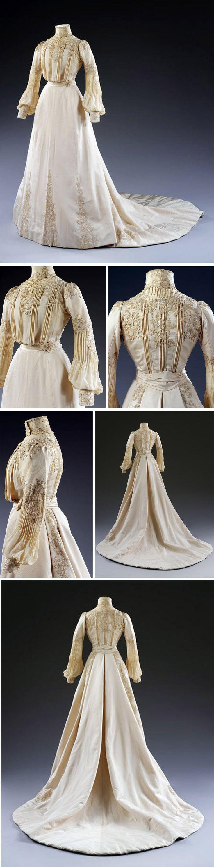 Wedding dress, Houghton & Dalton, London, 1902. Silk, two pieces. Victoria & Albert Museum
