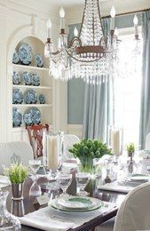 Dining Room: Dining Rooms, Table Settings, Interior, Ideas, Chandelier, Built In, Design, Blue And White