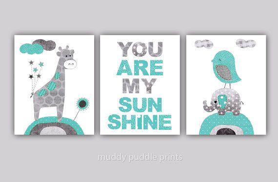 Nursery art print, kids room wall art, Nursery decor, Baby Nursery, set of 3 print - Sunshine Teal / Turquoise