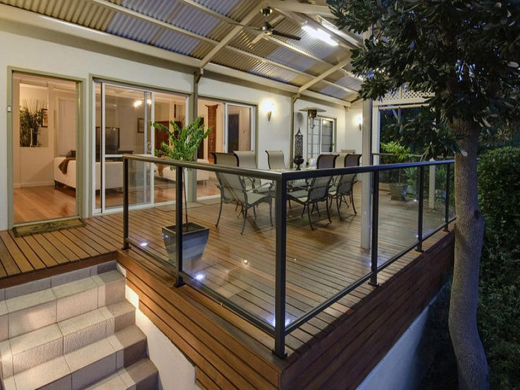 Indoor Outdoor Living Design With Balcony Decorative Lighting Using Glass