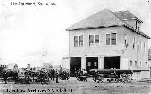 Fire department. Stettler, Alberta circa 1900.