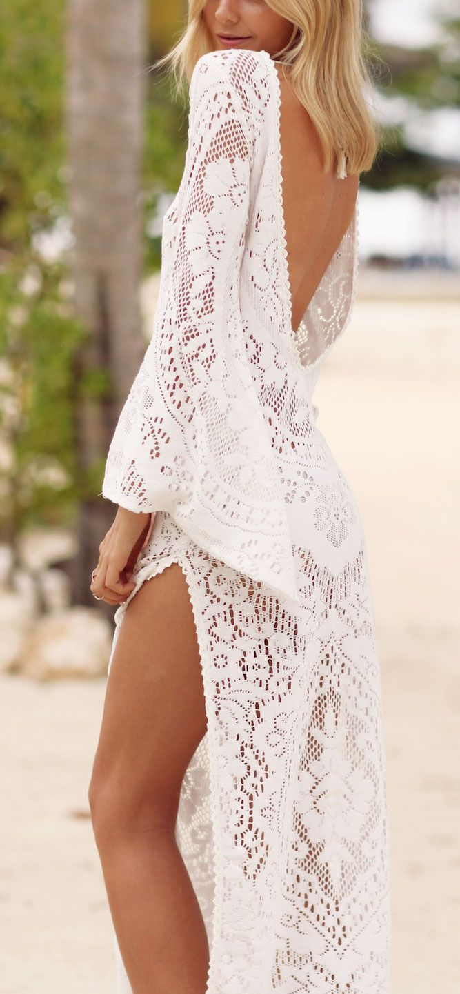 New piece to keep for this Summer is this Boho crochet dress to wear with Bikini.