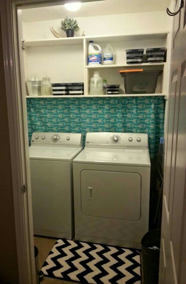 Use Fabric Glue To Make A Rod Pocket And Hand A Curtain To Hide Washer Dryer Connections On An