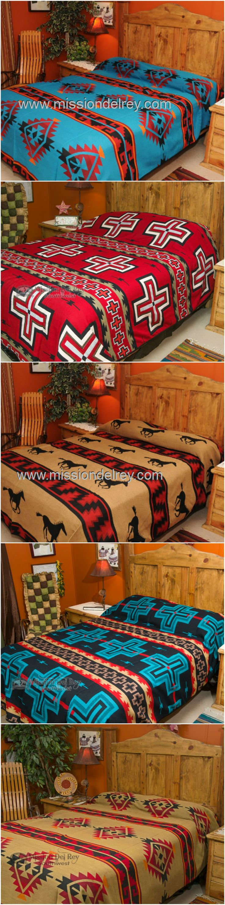 Western bedspreads are the perfect choice for enhancing rustic, cowboy, lodge, cabin, or southwest style decor.  Bring authentic western style to life in your home with a reversible bedspread from our western bedding collection. See all of our western and southwestern bedspreads, and sign up for our newsletter to receive exclusive discounts and coupons at http://www.missiondelrey.com/southwestern-bedspreads/