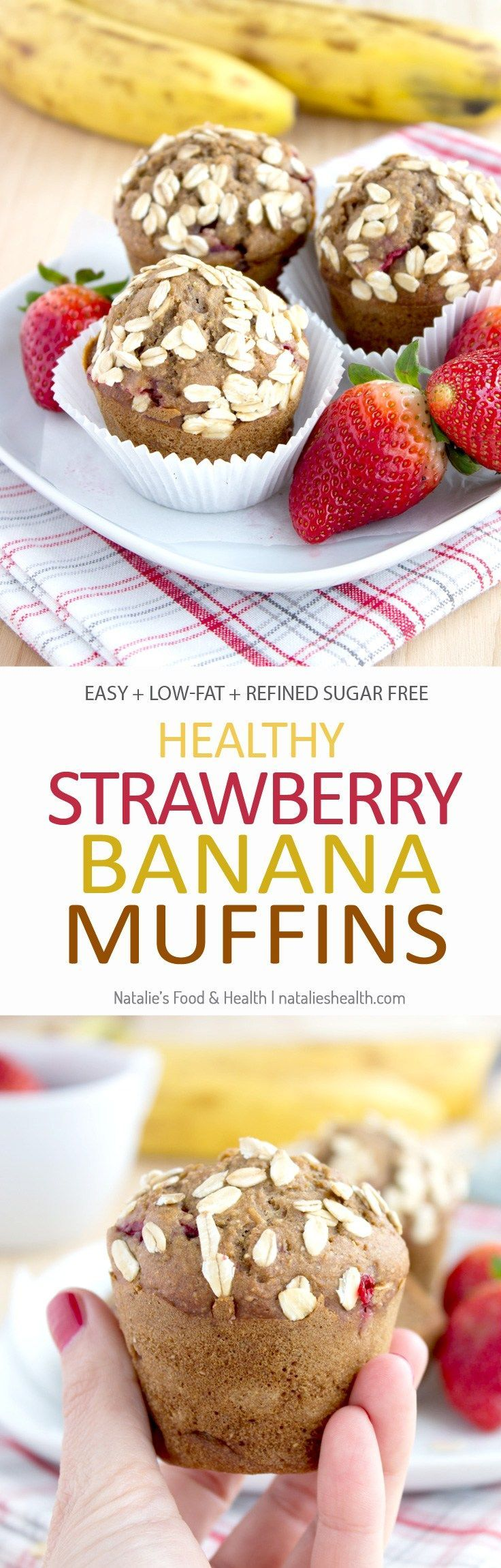 Super sweet and moist, perfectly fragrant Strawberry Banana Muffins made with all HEALTHY ingredients, refined sugar-free, packed with fresh strawberries. These muffins are easy to make yet delicious dessert that truly screams Spring. CLICK to read more o