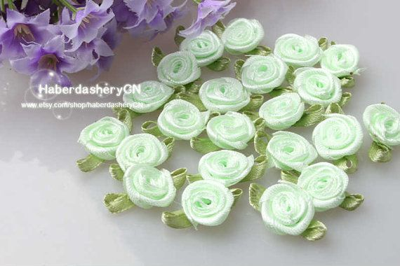 R12 Light Green  FREE SHIPPING 450pcs Satin by haberdasheryCN, $16.00