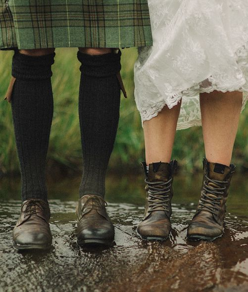 Bride and Groom shoes on Wedding Day.  Isle of Skye, Scotland