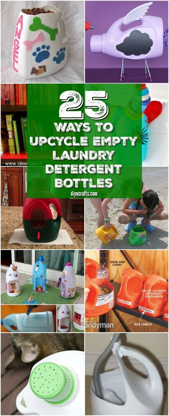 25 Fun And Creative Ways To Upcycle Empty Laundry Detergent Bottles  - Collection curated and created by diyncrafts team. via @vanessacrafting