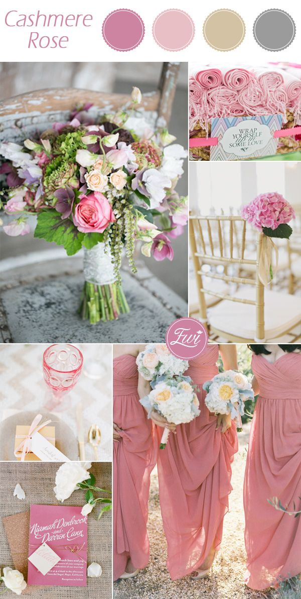 romantic pantone Cashmere Rose pink fall wedding color ideas 2015