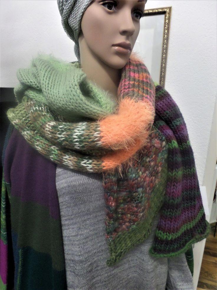 SCHAL/SCHULTERTUCH - Material- und Farb-Mix in lila, orange, grün ca 50x180 cm verschiedene Qaulitäten (Baumwolle, Wolle, Mohair, ...) UNIKAT
