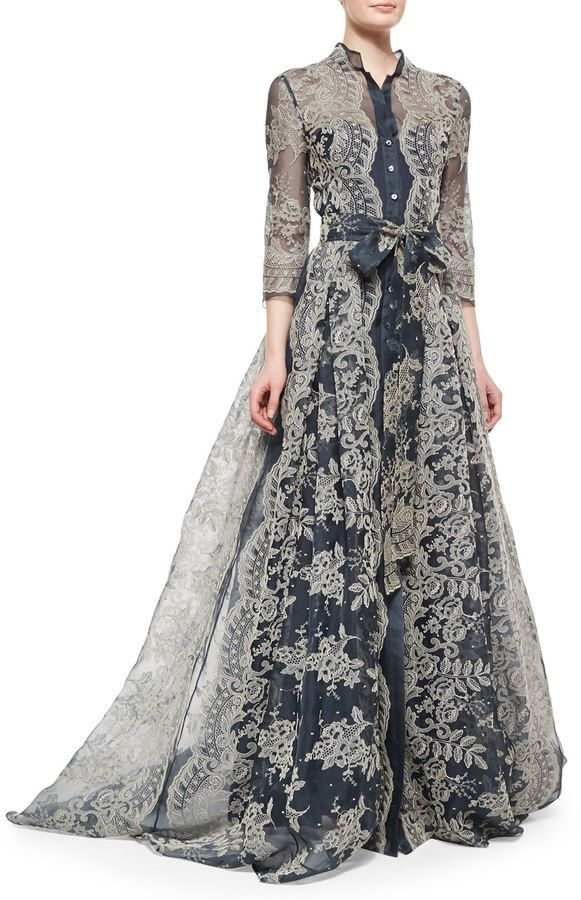 Carolina Herrera Embroidered Lace Pleated Gown jαɢlαdy