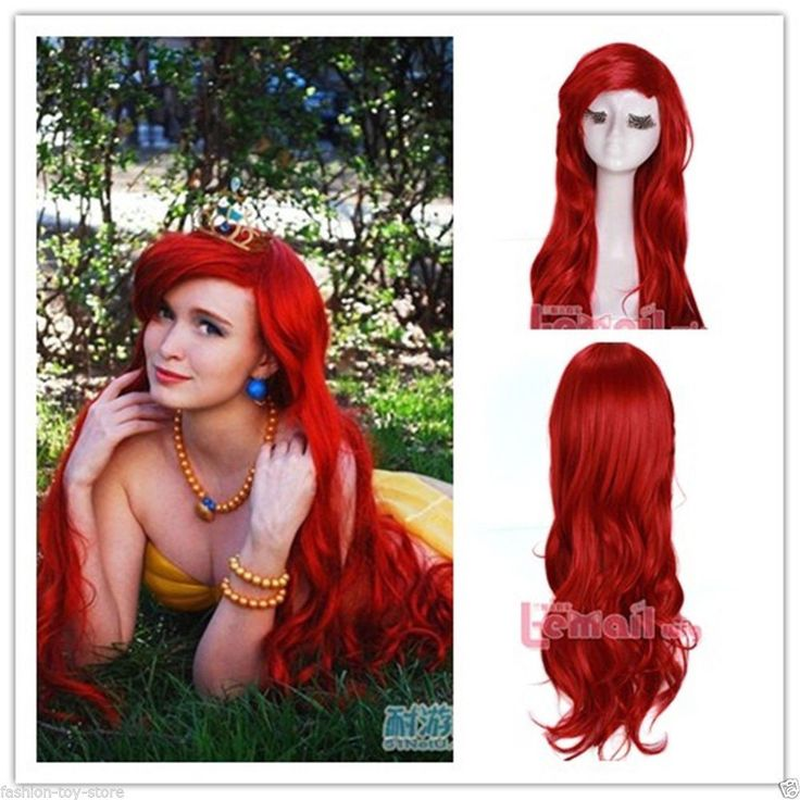 Hot long Dark Red curly Little Mermaid princess Ariel synthetic Cosplay Wig