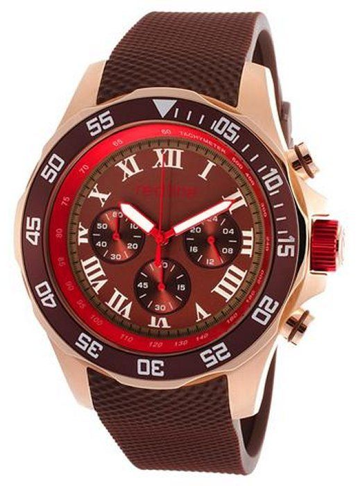 Redline Red Line Men's Tracker Chronograph Brown Dial Brown Rubber RL-60055 Watch on shopstyle.com