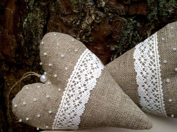 burlap and lace hearts ... burlap, lace, beads ... gorgeous burlap hearts
