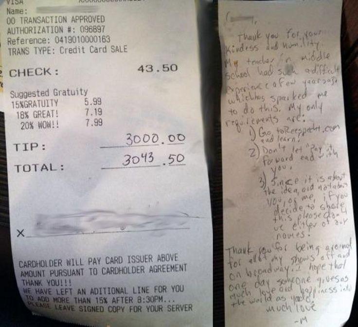 <p>Da staunte sie sicher nicht schlecht: Eine Bedienung in New York hat ein Trinkgeld von 3.000 Dollar bekommen – und das für eine Rechnung über 43,50 Dollar. Der Spender war ein Mann, der damit dem Motto einer Stiftung folgte – und damit Gutes tat. (Bild: Yahoo) </p>