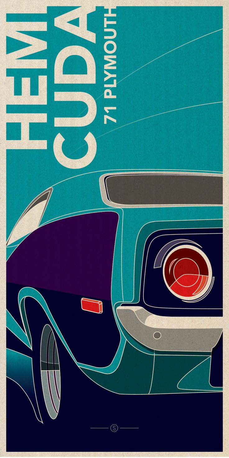 Image illustrative de l article opel ascona - Plymouth Hemicuda 71 Illustration Plymouth Baracuda Poster St Phane Plassart