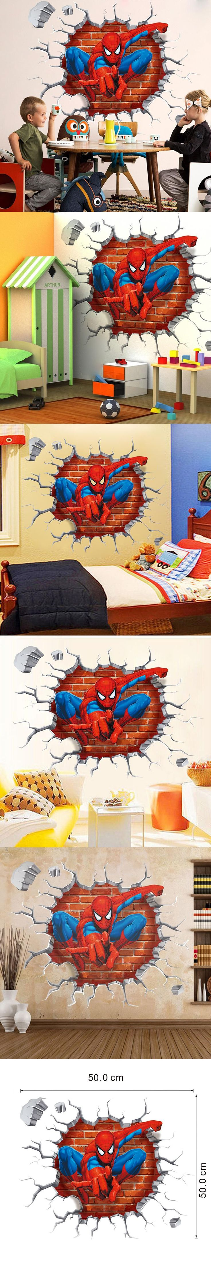 3d Cartoon Spiderman wall stickers for kids rooms home decor Kids Nursery Wall Decals Home decoration Boy room gift Wallpaper $5.5