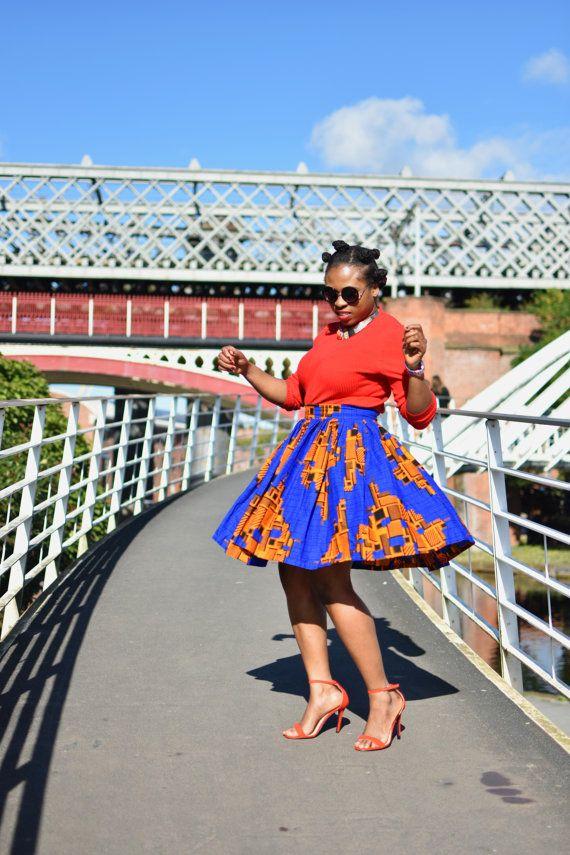 Ankara Midi rok Afrikaanse print rok verzamelde rok vintage