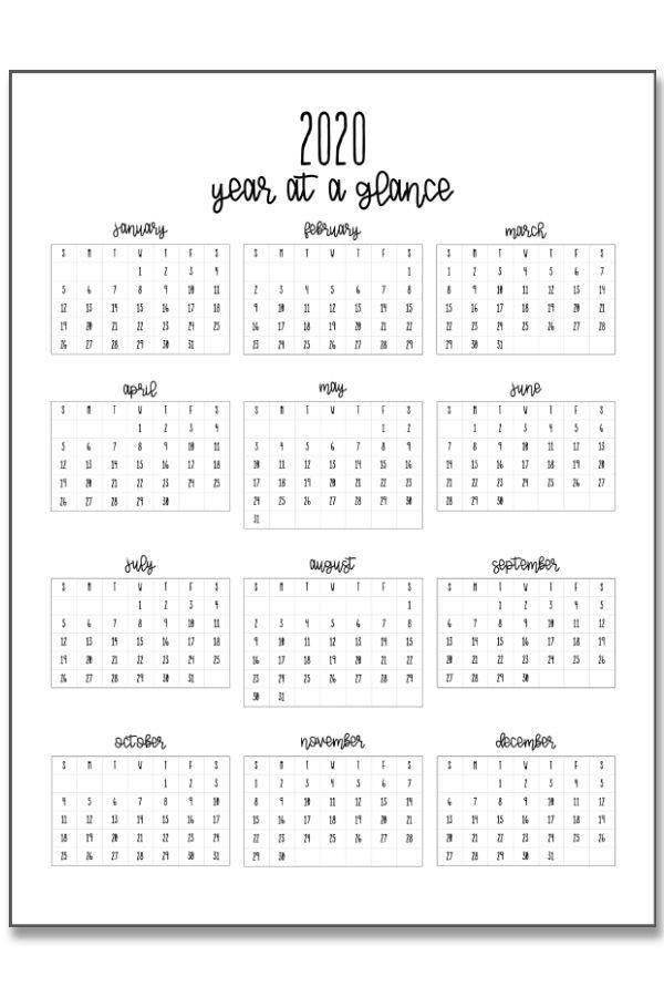 2020 Calendar At A Glance And 2020 Mini Calendar Stickers Calendar Stickers Mini Calendars Planner Sticker Paper