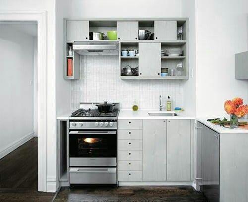 Dwell Grey Stainless Cabinets Ann Sacks Tiles Backsplash Sliding Kitchen  Interior Kitchen Stove Small Minimalist Kitchen For Small Minimalis.