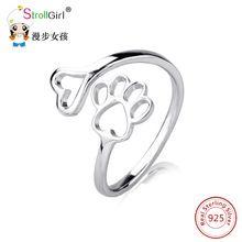 Anillo de dedo ajustable pata de perro mascota Cachorro de Perro Pata Abierta accesorios de joyería de moda de ley 925 anillos de plata para las mujeres niñas(China (Mainland))
