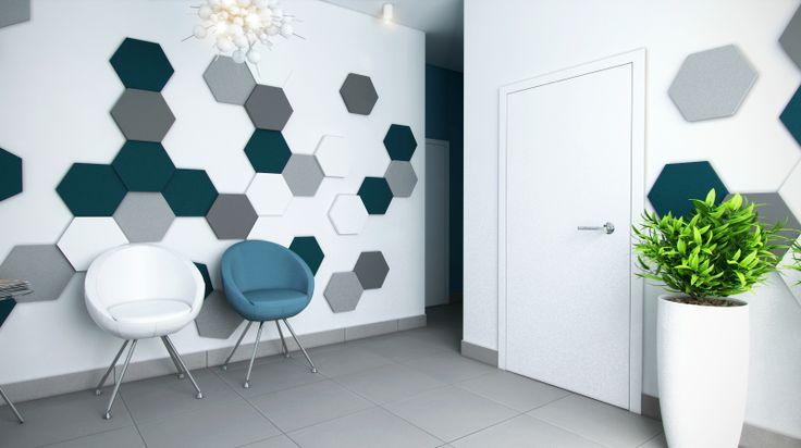 Poczekalnia gabinetu stomatologicznego. Kolekcja Fluffo HEXA (plastry miodu). Miękkie panele ścienne 3D Fluffo. Fabryka Miękkich Ścian. Projekt by: www.pekastudio.com