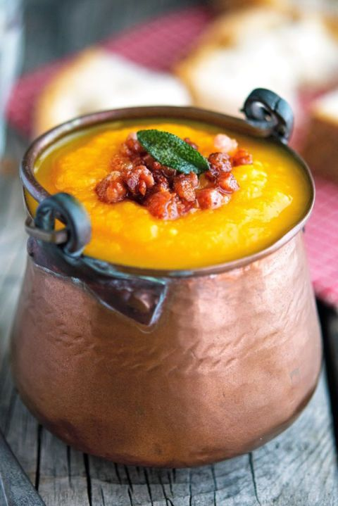A go-to soup recipe for chilly nights is basically a fall necessity. This sweet Pumpkin and Carrot Soup with Crispy Pancetta and Fried Sage will warm your soul.