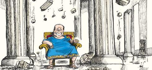 Pompei / 21 septembre 2011 / Horsch pour le  Corriere della Sera Milan / Après les marchés internationaux et les agences de notation, les grands quotidiens nationaux italiens ont pris conscience que le principal ennemi de la crédibilité du pays est Silvio Berlusconi. A leur tour, les journaux modérés, comme le Corriere della Sera ou Il Sole 24 Ore, réclament sa démission.