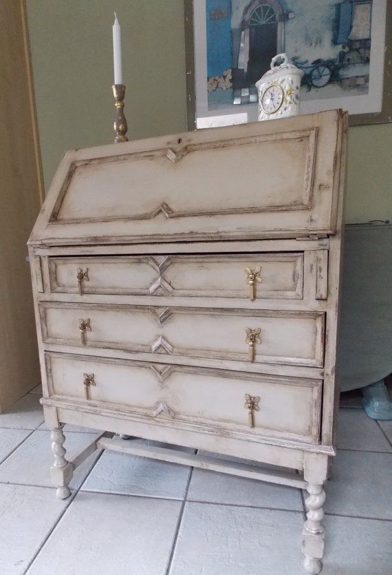 Solid Oak Bureau with 3 Drawers, Decorative Moulding Detail and Ornate  Brass Drop Handles Hand. Antique Furniture Mouldings ... - Antique Furniture Mouldings Antique Furniture