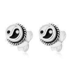 Kerek, bedugós fülbevaló, 925 ezüst, fekete-fehér Jin és Jang szimbólum