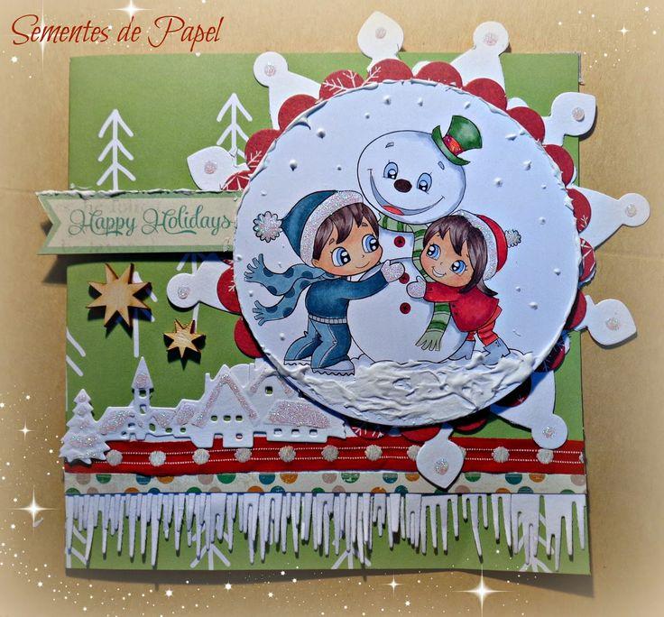 """Sementes de papel: Card """"jugando en la nieve"""" from a Alicia Bel stamp"""