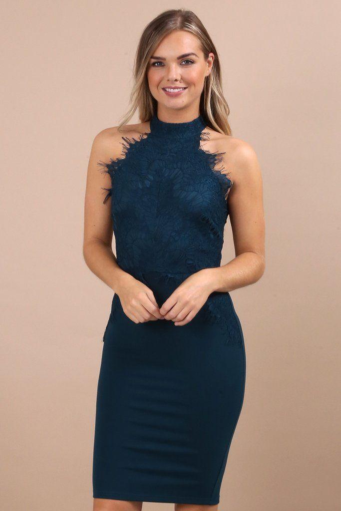 444343a7f69a Tia-Maria Teal High Neck Eyelash Lace Dress