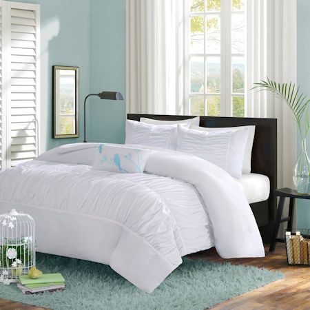 White teen girl bedding elegant ruched comforter or duvet for Elegant white comforter sets