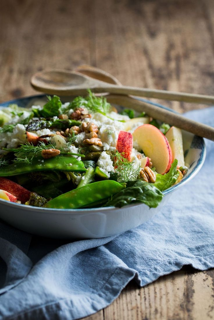Roasted Fennel, Broccoli & Asparagus Salad with Apples, Feta Cheese & Pecan Nuts || made by mary