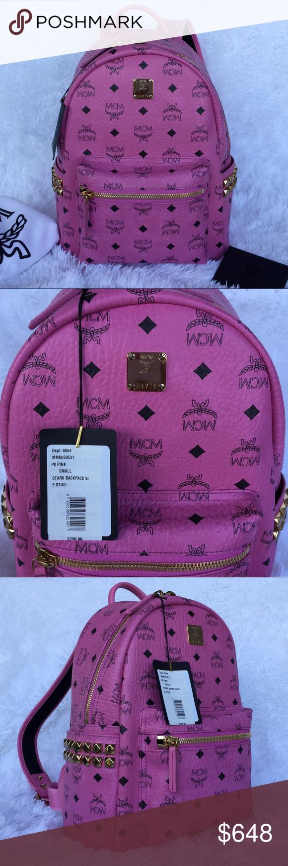 NEW MCM STARK BACKPACK IN SIDE STUDDED VISETOS Authentic. Made in Italy. Brand new with tags. This backpack will come with care card and dust bag. PLEASE NO TRADE. THE PRICE IS FIRM. The ultimate hands-free accessory, crafted from signature Visetos-print coated canvas with side stud embellishment. Single top handle Adjustable shoulder straps Front zipped pocket 2 exterior flat side pockets with stud embellishment 2 interior pockets with sleeve for tablet storage Zip-around closure Faux nappa…