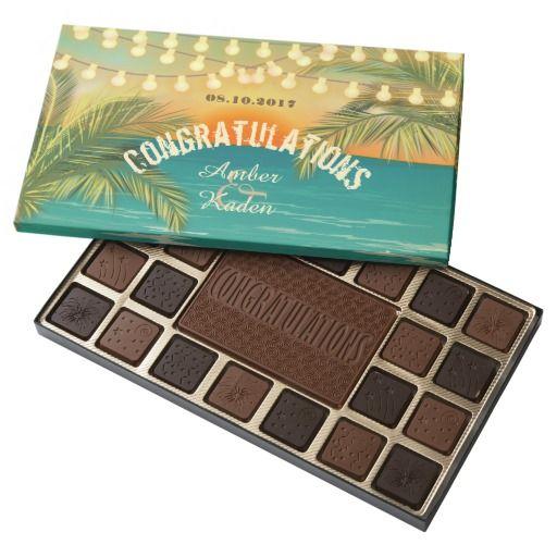 Beach Sunset Wedding - Customize 45 Piece Box Of Chocolates. Customize text.