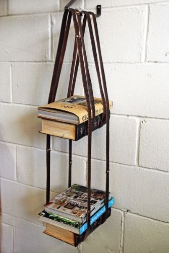 Leather Harness Hanging Bookshelf | 25 Awesome DIY Ideas For Bookshelves
