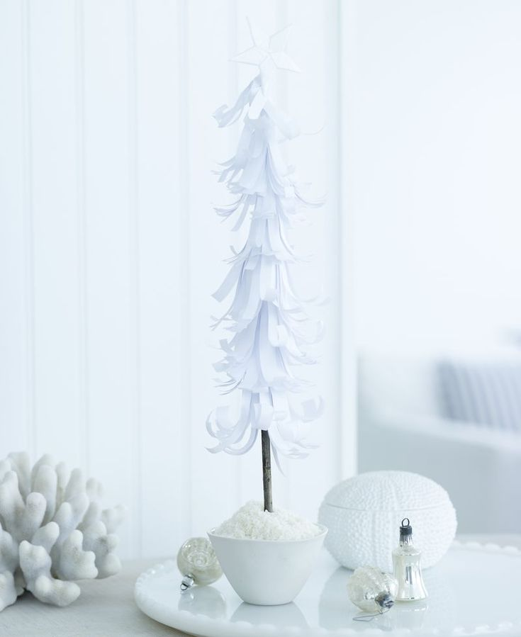 Paper tree  A really cute holiday craft project. One is beautiful on a table, but if you have the time make a whole forest.